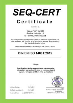 Certificate ISO:9001 2015